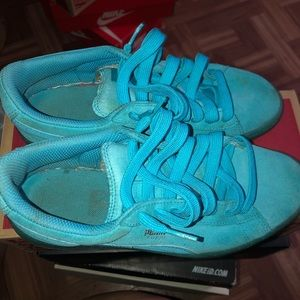 Turquoise puma sneakers